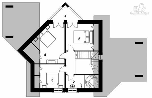 Фото 6: проект удобный стильный дом с треугольным эркером, с четырьмя спальнями