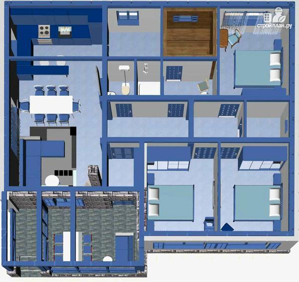 Фото 6: проект одноэтажный дом из пенобетона с тремя спальнями и сауной