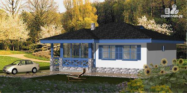 Фото 2: проект одноэтажный дом из пенобетона с тремя спальнями и сауной