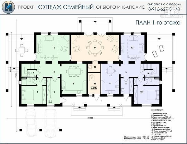 Фото 2: проект дом в английском стиле на две семьи с дополнительными комнатами