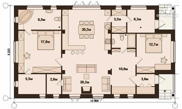 Фото 4: проект одноэтажный удобный стильный дом