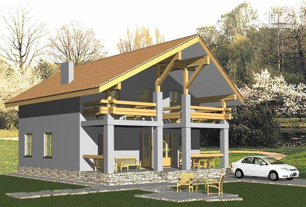 """Фото: проект экономичный коттедж в стиле """"Шале"""" с простой кровлей, с террасой и балконами"""