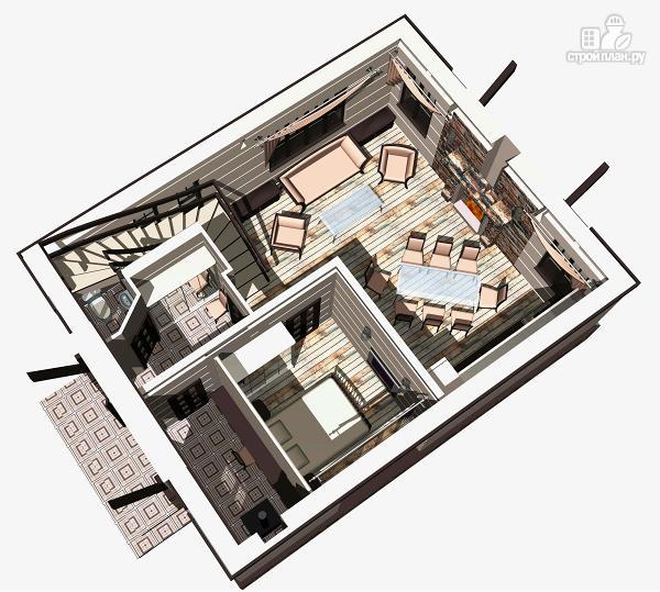 Фото 3: проект простой дом 7 х 9 из газоблока, с балконами
