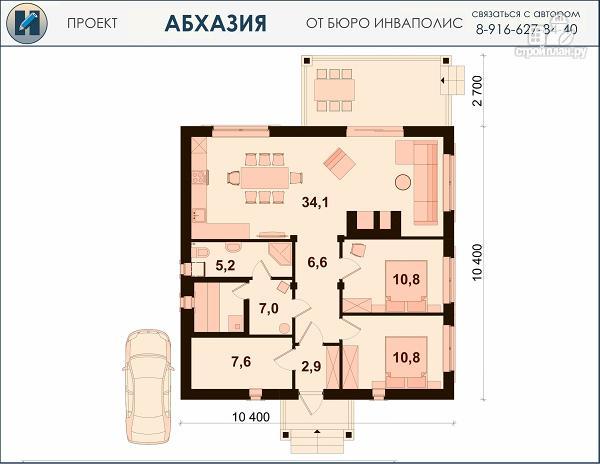 Фото 2: проект дом одноэтажный 10х10 с 2 спальнями и сауной