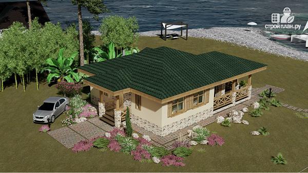 Фото 3: проект одноэтажный домик 10 на 10 метров с угловой террасой