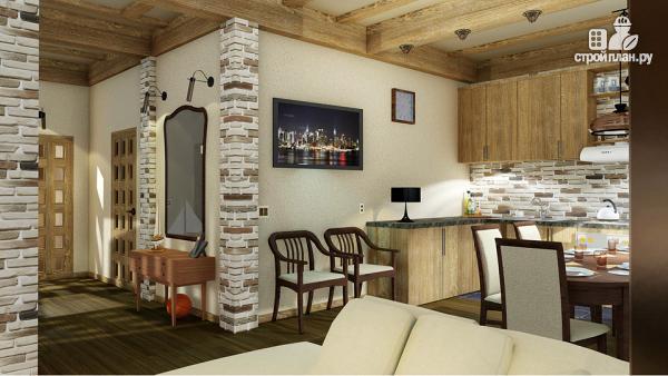 Фото 4: проект одноэтажный домик 10 на 10 метров с угловой террасой