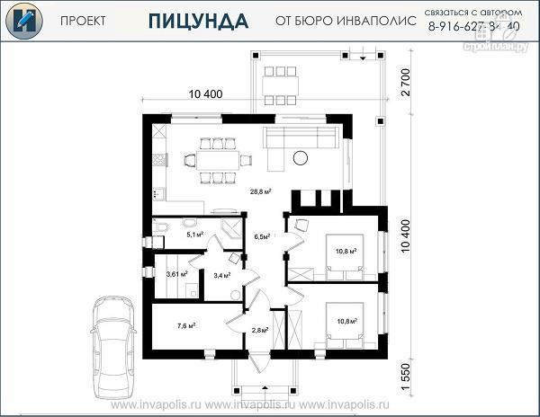 Фото 2: проект одноэтажный домик 10 на 10 метров с угловой террасой