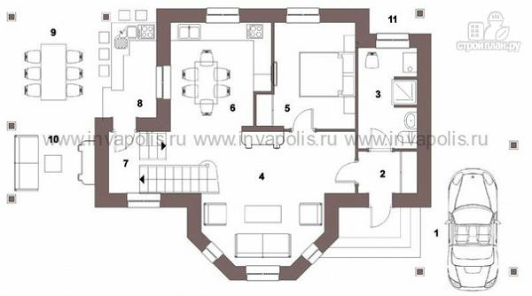 Фото 2: проект экономичный шале с эркером и двусветной гостиной, с 3 спальнями