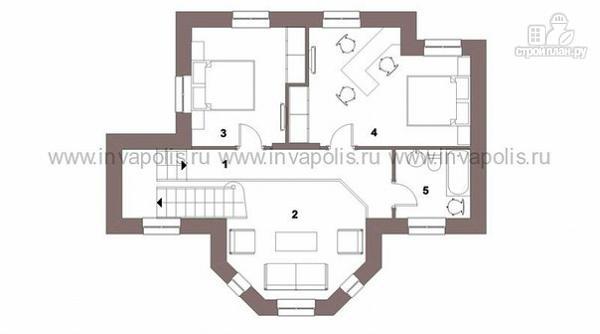 Фото 3: проект экономичный шале с эркером и двусветной гостиной, с 3 спальнями
