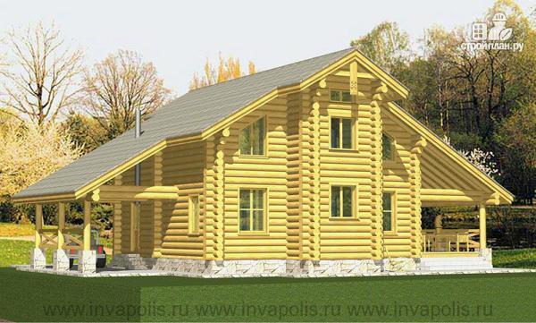 Фото 3: проект рубленный дом-шале с 4 спальнями