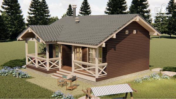 Фото 4: проект трехкомнатный дом 45 м2 или банька из бруса