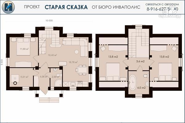 Фото 2: проект простой дом 6 х 10 метров с 3 спальнями