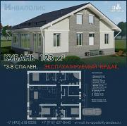Фото: одноэтажный дом 12 на 13 метров с жилым чердаком