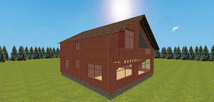 """Двухэтажный дом из бруса со вторым светом, проект """"Модерн"""""""