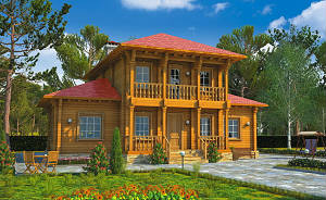 """Двухэтажный дом из бруса с террасами и балконами, проект """"Царицыно"""""""