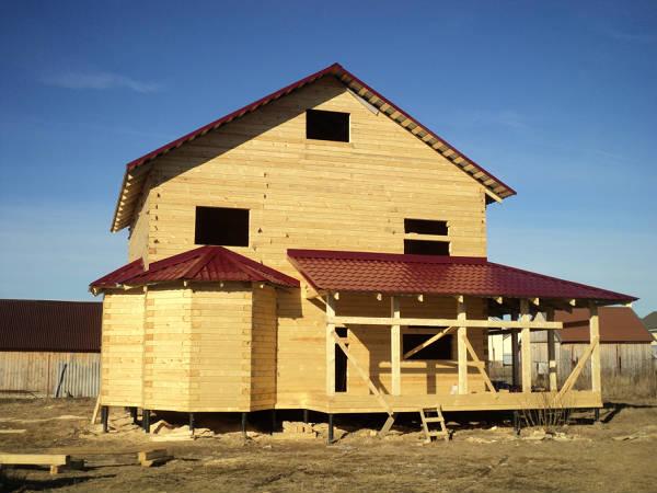 """Фото Окончен первый этап строительства дома из профилированного бруса по проекту """"Резиденция"""""""