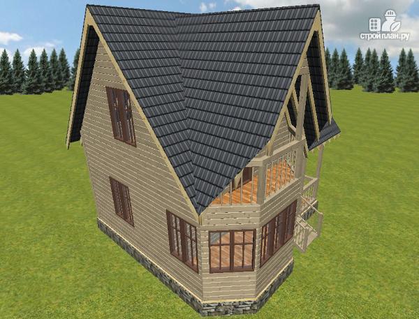 Фото 10: проект дом из бруса с крыльцом и балконом, эконом-вариант