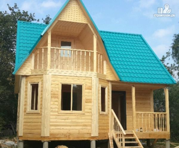 Фото 6: проект дом из бруса с крыльцом и балконом, эконом-вариант