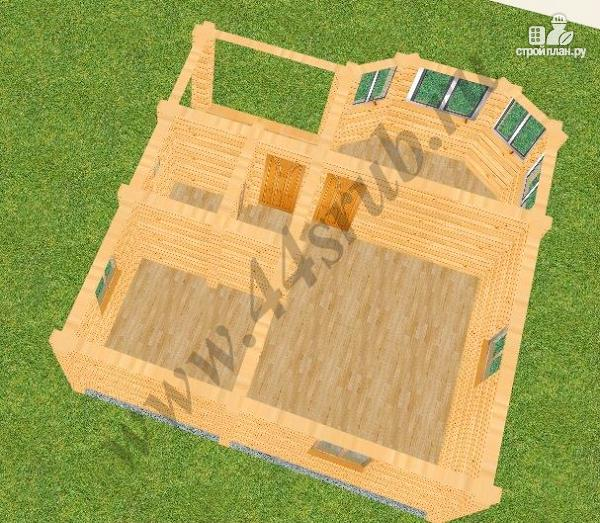 Фото 3: проект дом из бруса с крыльцом и балконом, эконом-вариант
