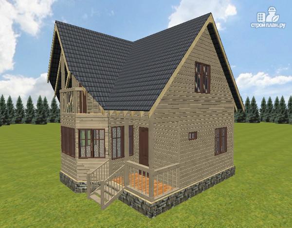 Фото 9: проект дом из бруса с крыльцом и балконом, эконом-вариант