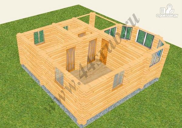 Фото 2: проект дом из бруса с крыльцом и балконом, эконом-вариант