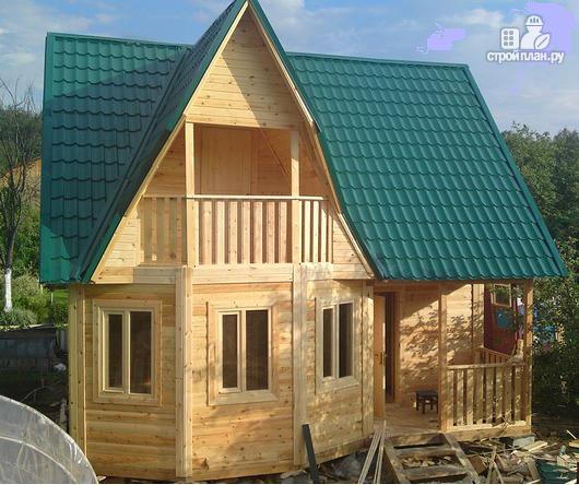 Фото 7: проект дом из бруса с крыльцом и балконом, эконом-вариант