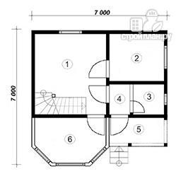 Фото 4: проект дом из бруса с крыльцом и балконом, эконом-вариант