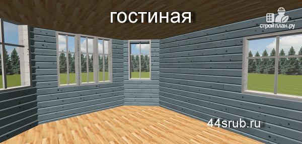 Фото 9: проект дом из бруса с эркером в гостиной
