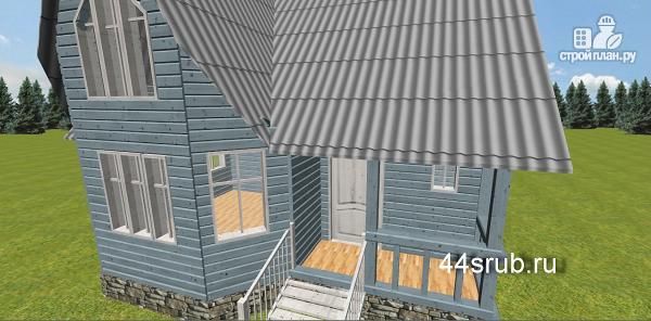 Фото 7: проект дом из бруса с эркером в гостиной