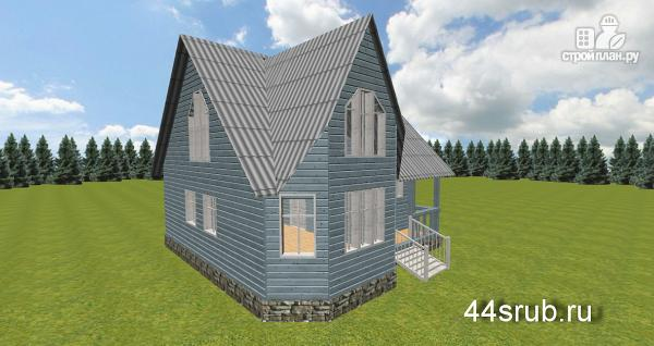 Фото 4: проект дом из бруса с эркером в гостиной