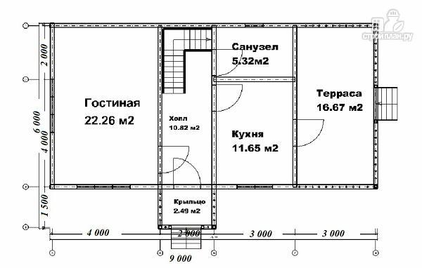 Фото 5: проект дом 6х9 из бруса с просторной террасой