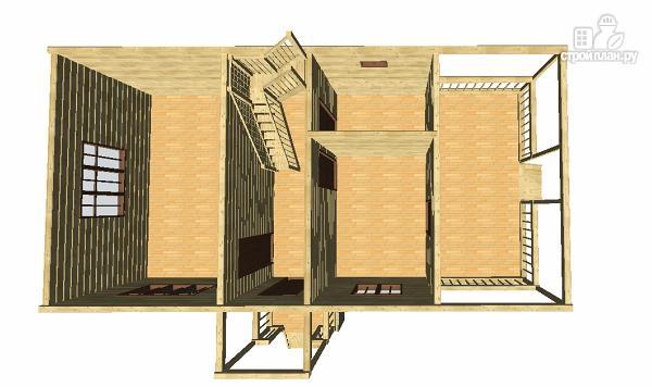 Фото 6: проект дом 6х9 из бруса с просторной террасой