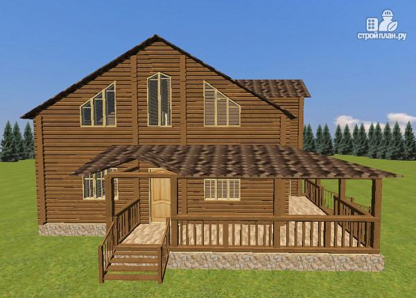 Фото 4: проект дом из бруса с большой террасой