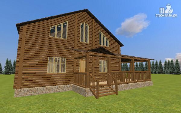 Фото 2: проект дом из бруса с большой террасой