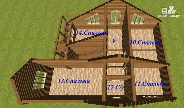 Фото 6: проект дом из бруса с большой террасой