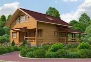 Фото: дом из бруса с балконом и террасой