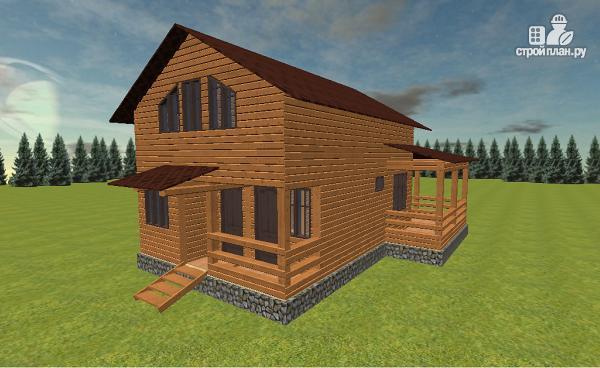 Фото 2: проект дом из бруса с балконом и террасой