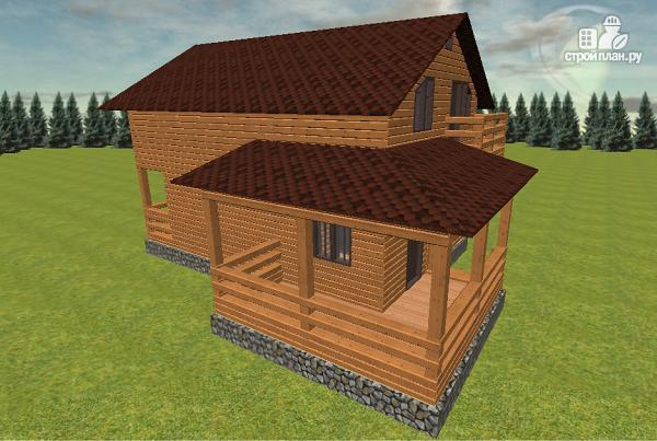 Фото 7: проект дом из бруса с балконом и террасой