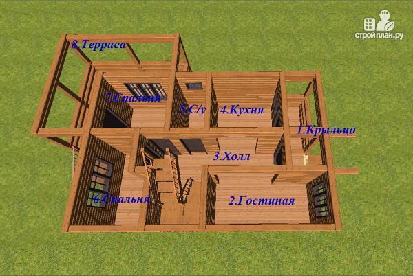 Фото 5: проект дом из бруса с балконом и террасой