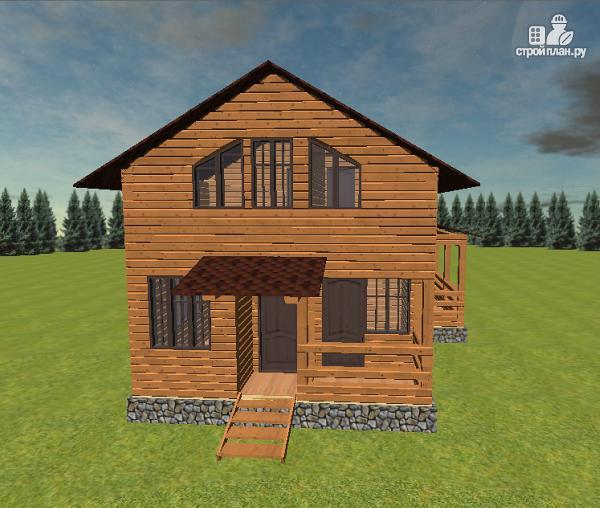 Фото 4: проект дом из бруса с балконом и террасой