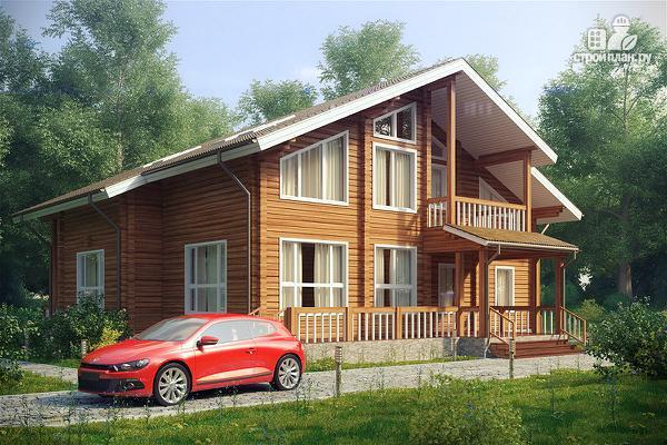 Фото: проект дом с большой террасой и балконом