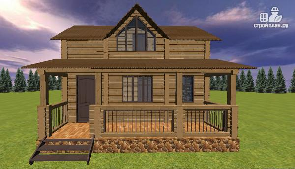 Фото 3: проект дом из бруса с большой террасой
