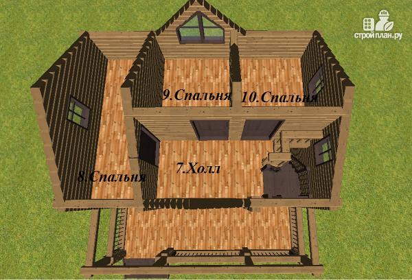 Фото 8: проект дом из бруса с большой террасой