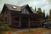 Фото: дом из бруса с большой террасой