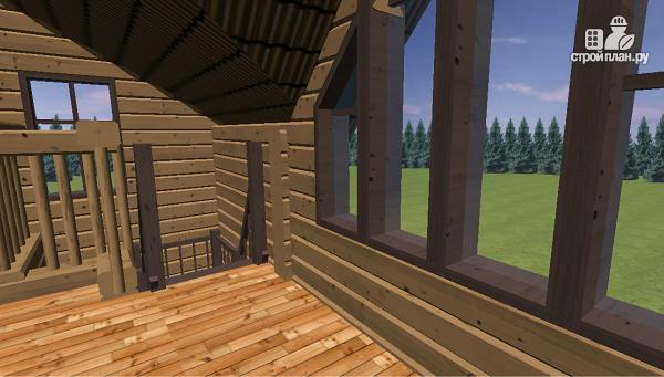 Фото 10: проект дом из бруса с большой террасой