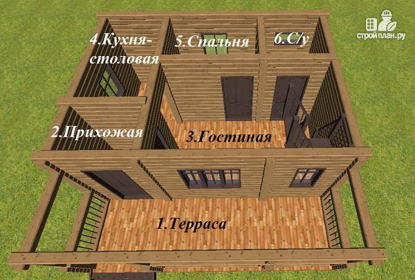 Фото 7: проект дом из бруса с большой террасой