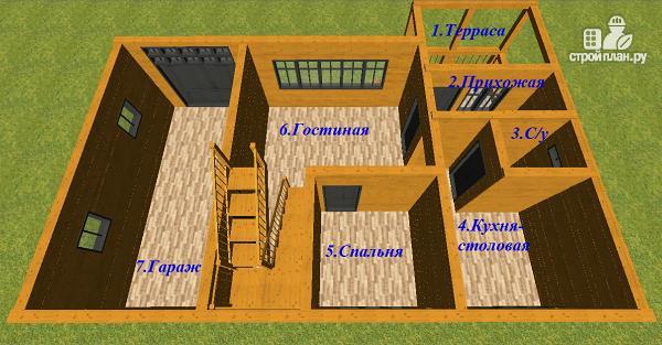 Фото 8: проект дом из бруса с гаражом