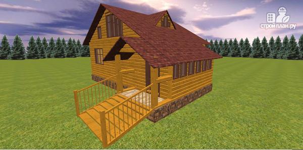 Фото 2: проект дом из бруса с крытой террасой
