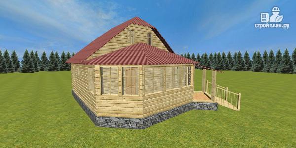 Фото 3: проект дом с крытой террасой-эркером