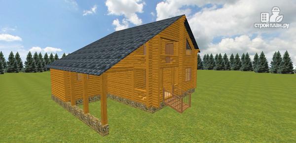 Фото 4: проект дом из бруса с навесом для гаража